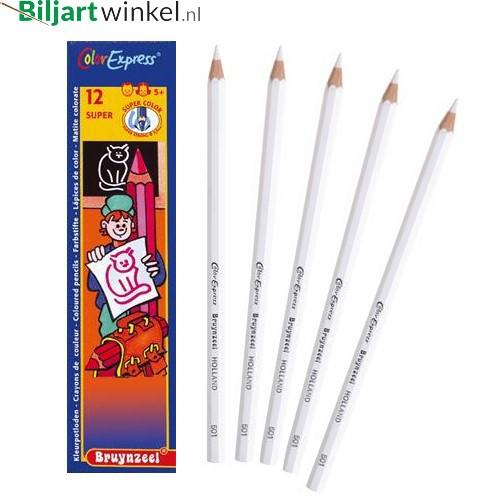 Afteken potloden wit, Bruynzeel (doosje 12 stuks)