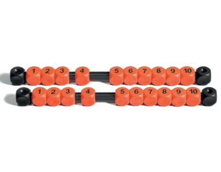 Voetbaltafel Scoreteller Oranje met cijfers, set van 2