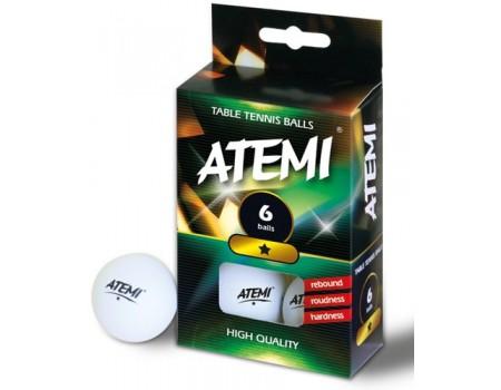 Tafeltennisbal ATEMI 1 ster wit/6 st