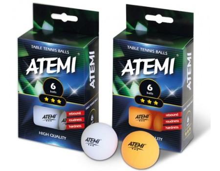 Tafeltennisbal ATEMI 3 sterren wit/6 st