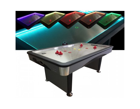 Airhockey TopTable Fast Flash Steel & Multi LED 7ft+