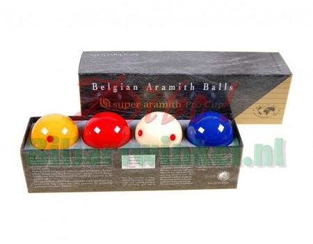 Biljartballen Super Aramith Pro Cup X4 met blauwe bal