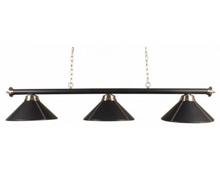 Lamp met 3 zwart lederenkappen