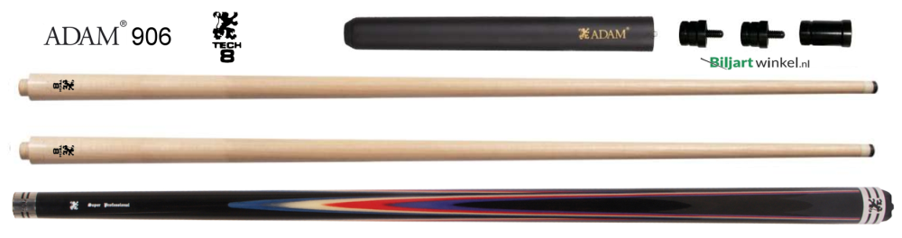 Adam Super Pro carom cue 906 met Tech10 shafts